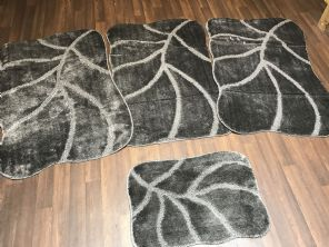 Non Slip Washable Romany Traveller/Gypsy Mat Set 4Pc Leaf Charcole All Colours Available